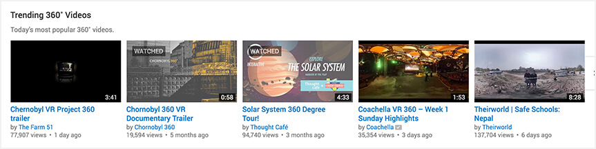 Trending 360 degree videos on YouTube